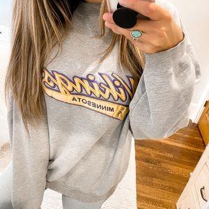 Minnesota Vikings Vintage Crewneck Sweatshirt Gray Puma Size Medium